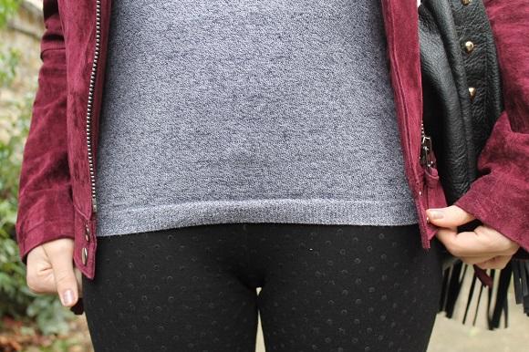 look pantalon à pois pull gris
