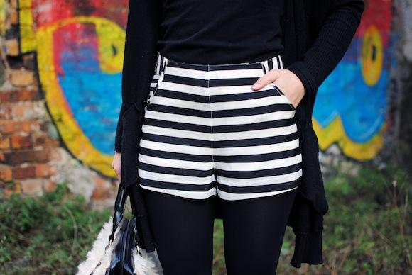 short à rayure noir & blanc