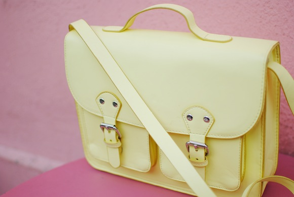 sac cartable jaune