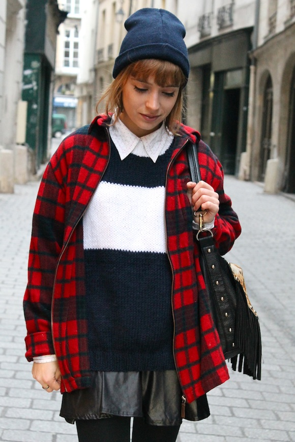 pull tricoté bi colore
