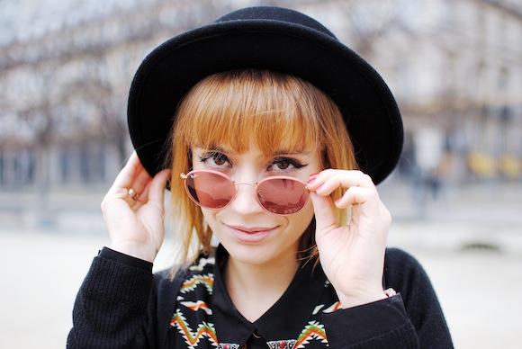 lunette rayban et canotier noir