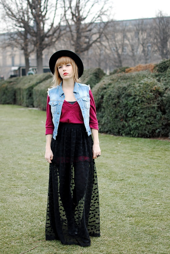 look goth veste en jean coupée
