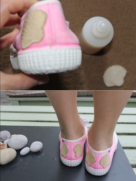 diy chaussure sirene  patch coquillage
