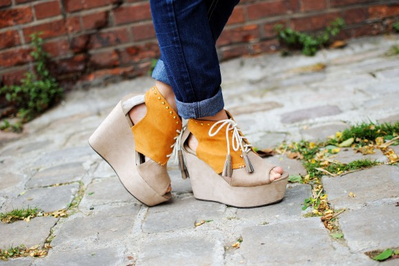 chaussures compensée open toes