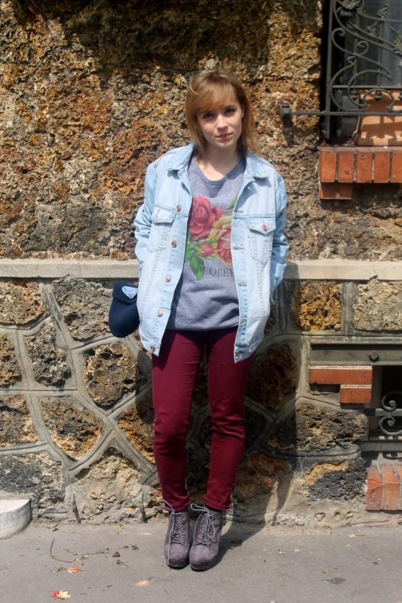 look veste en jeans oversized