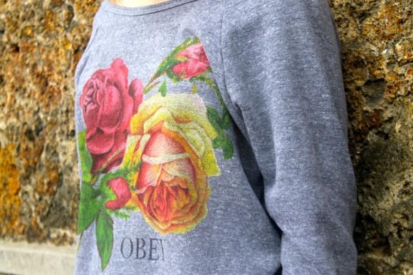 look pull imprimé rose