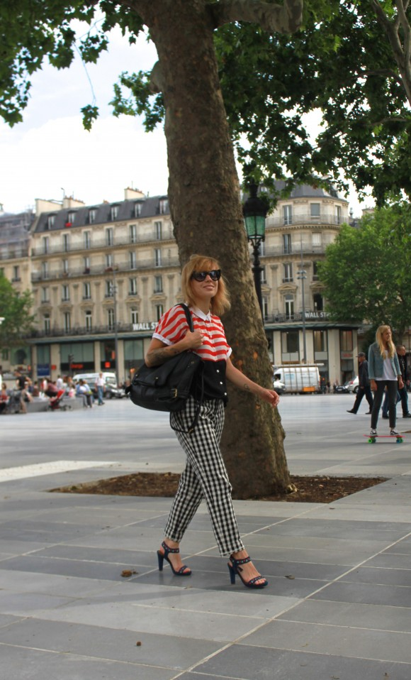 look graphic rayure et carreau