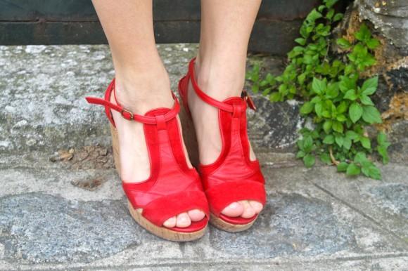sandales compensées rouges andré