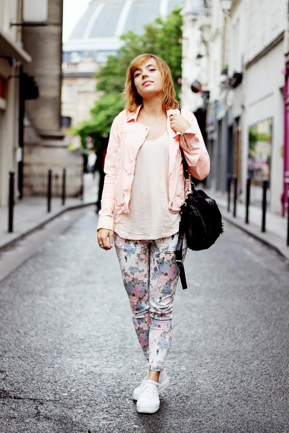look pantalon fleuri