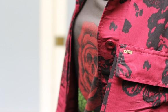 chemise bordeaux imprimé black rose