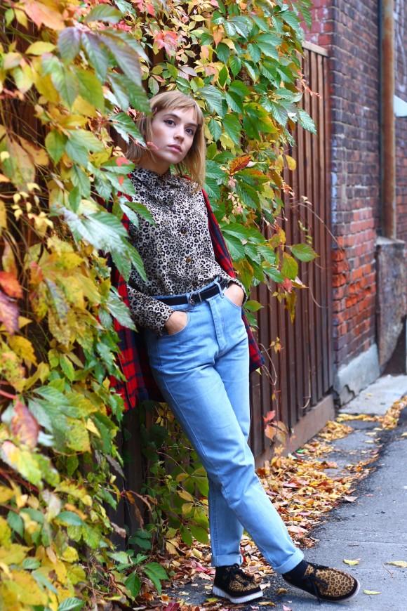 look pantalon en jean taille haute