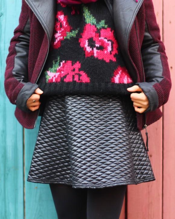 jupe matelassée noire