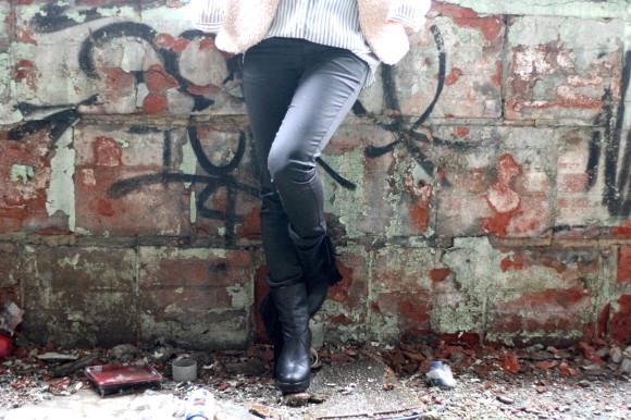 pantalon enduit noir look