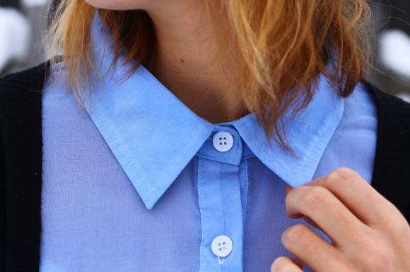 chemise bicolore bleu ciel