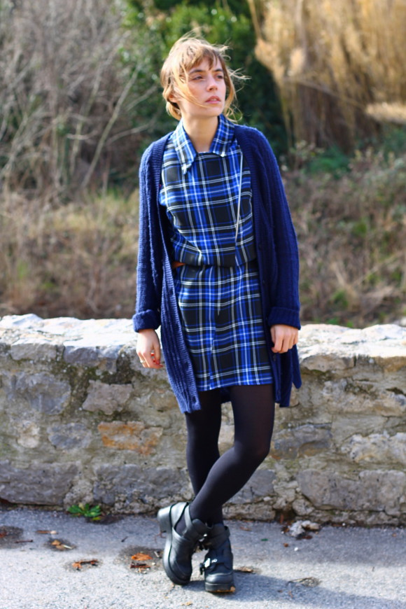 look robe tartan bleu