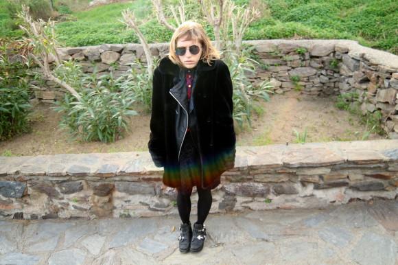 manteau fausse fourrure noire