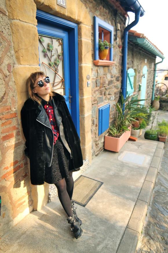 robe velours manteau fourrure