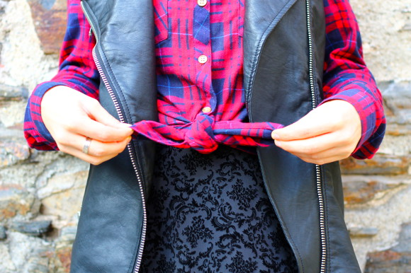 robe velours chemise tartan et perfecto sans manche
