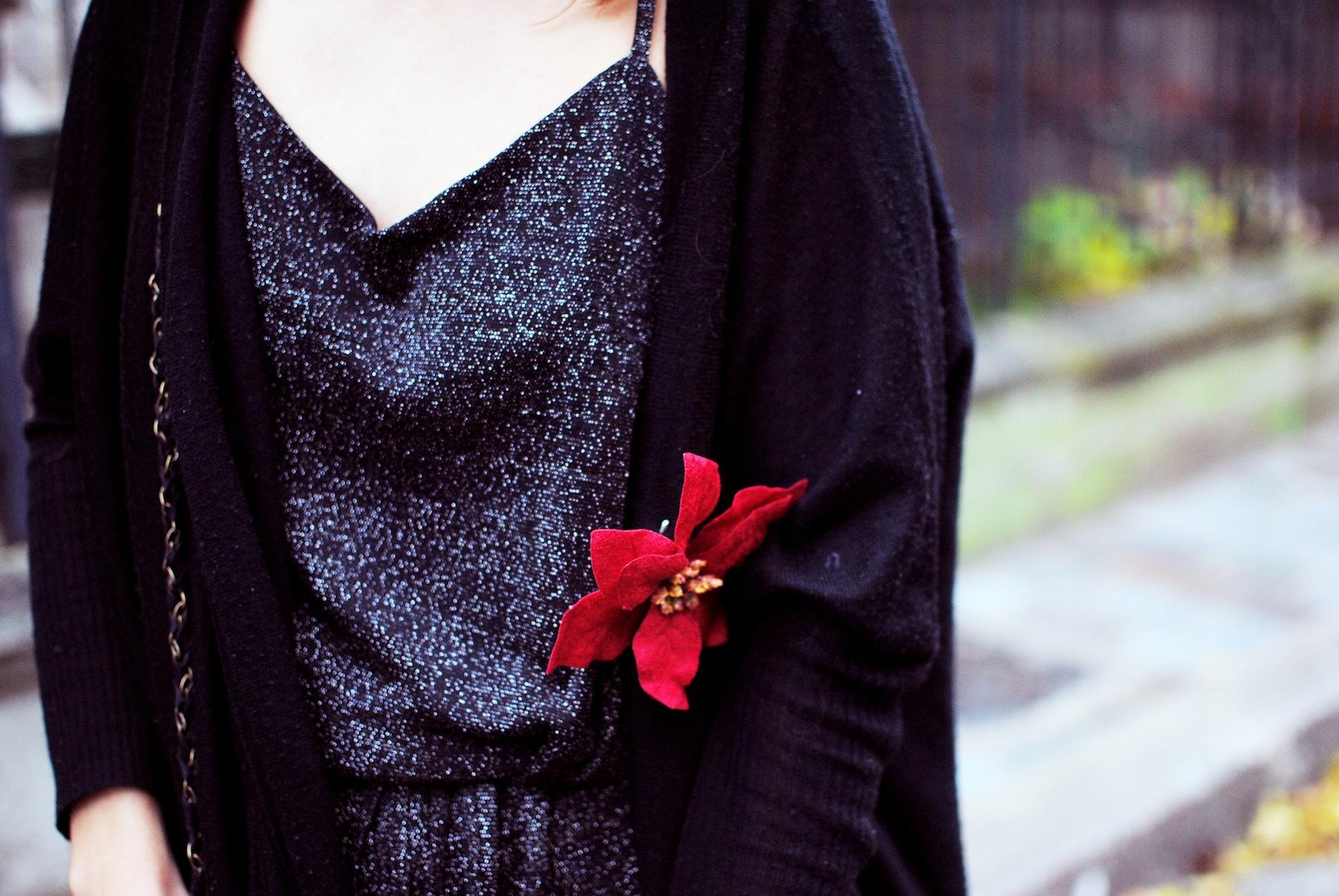 broche diy fleur rouge