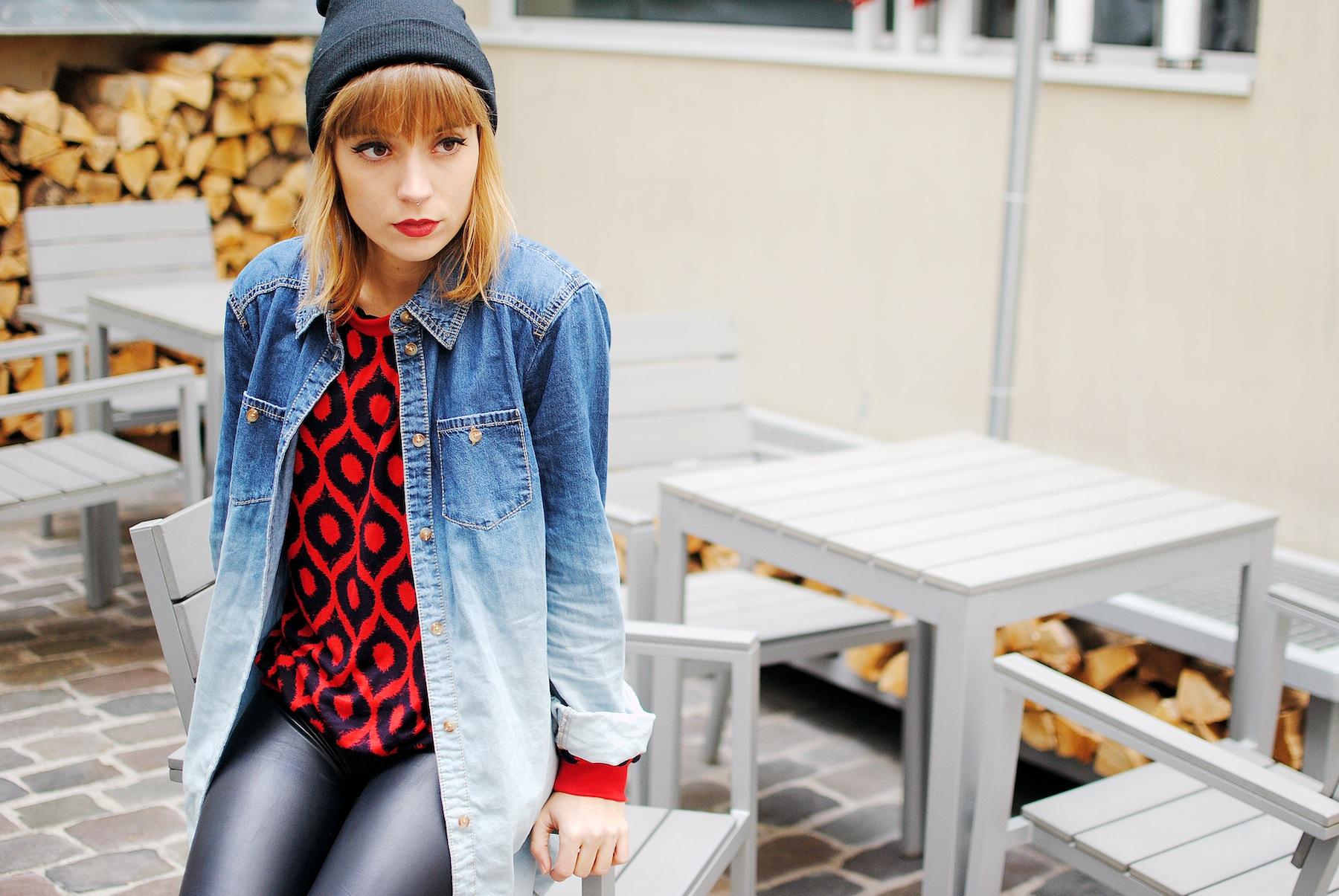 chemise en jeans bicolore look