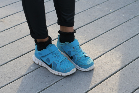 basket nike bleu free run