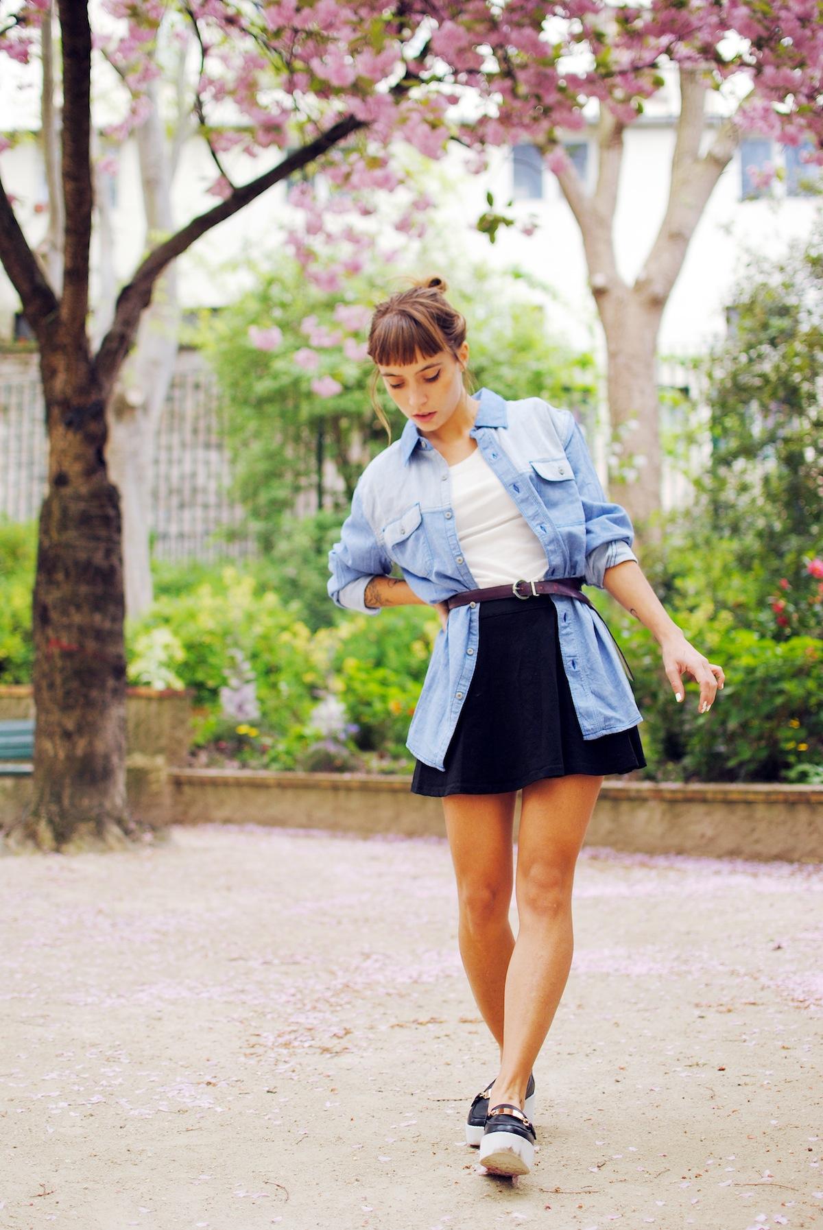 Blog mode look chemise large et ceinturée