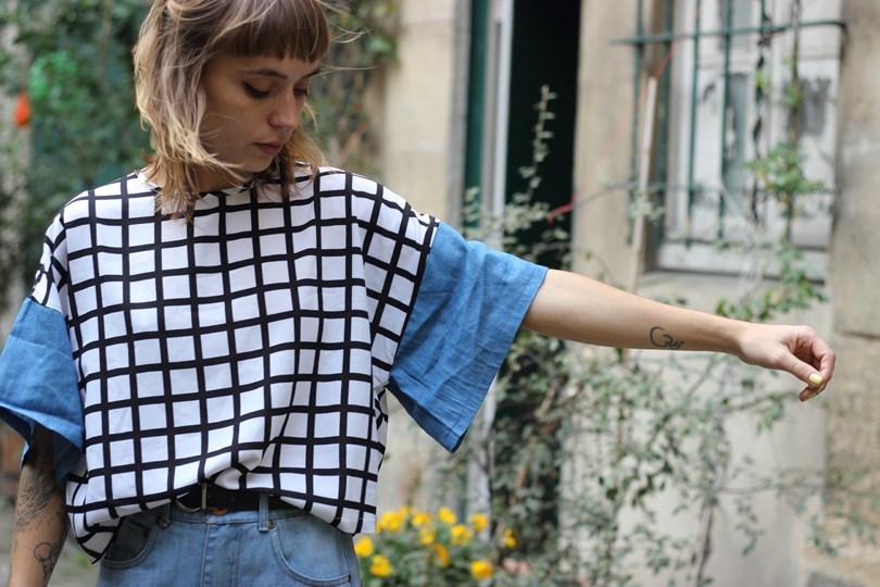 blog mode paris top quadrillé noir et blanc