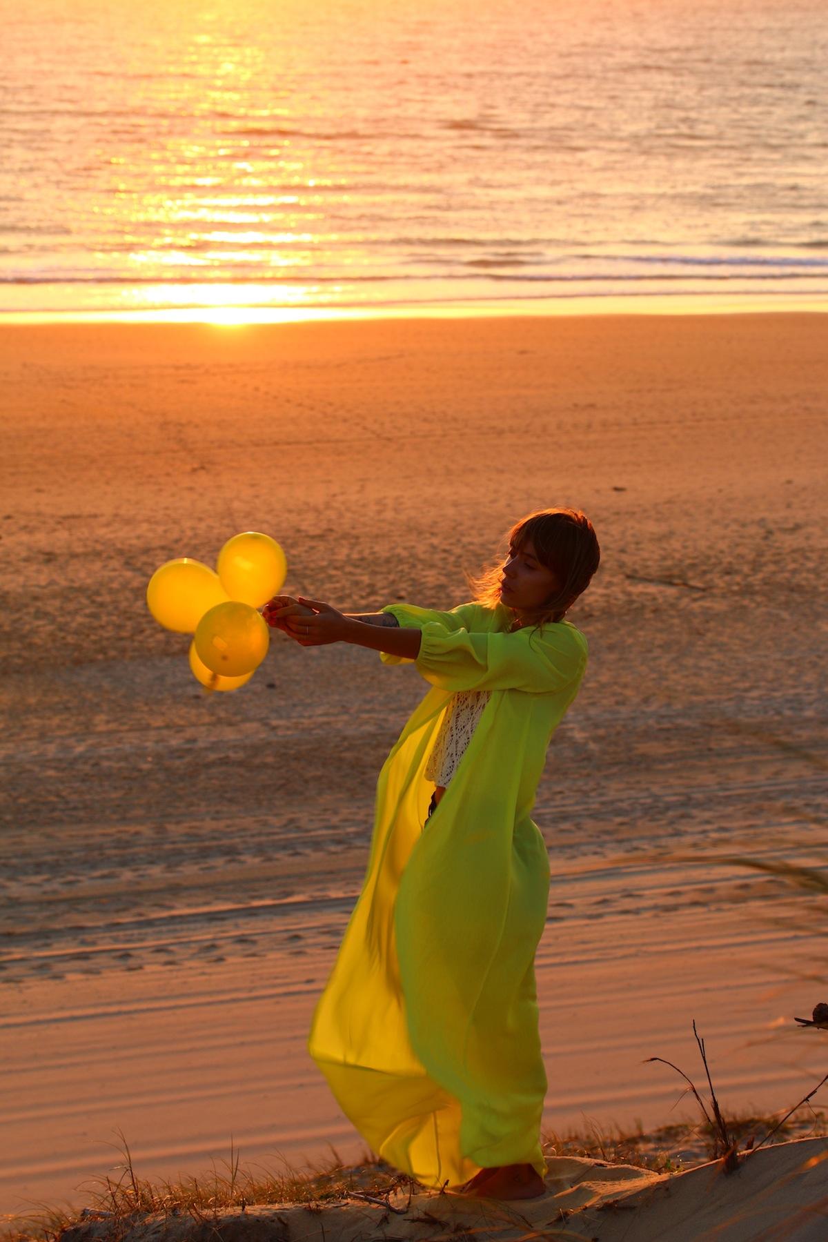 kimono jaune citron
