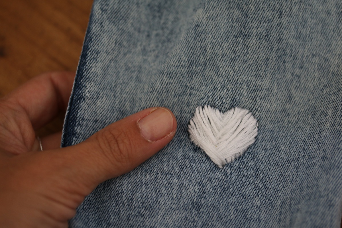fishbone stitch heart embroidery