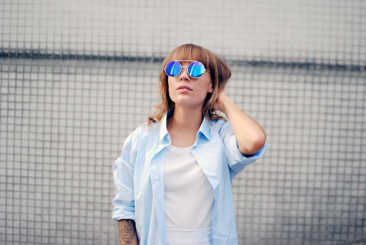 look lunette miroir bleue