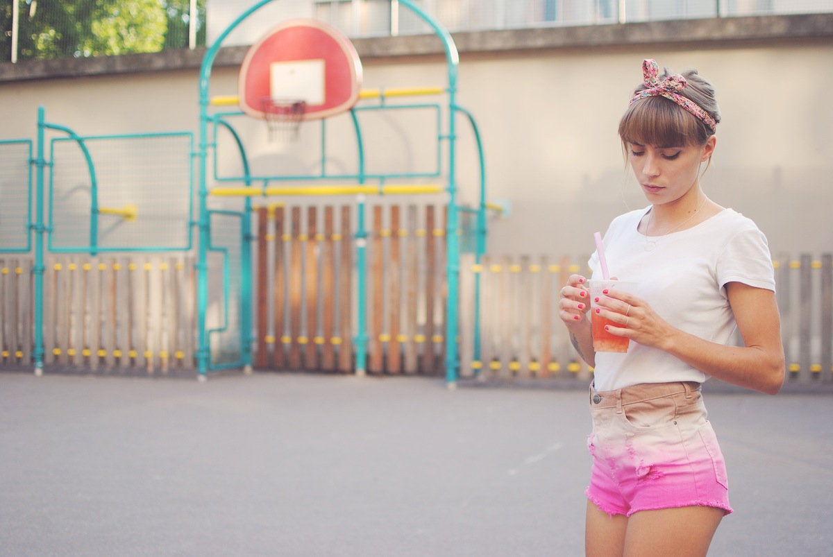 look pompom short rose