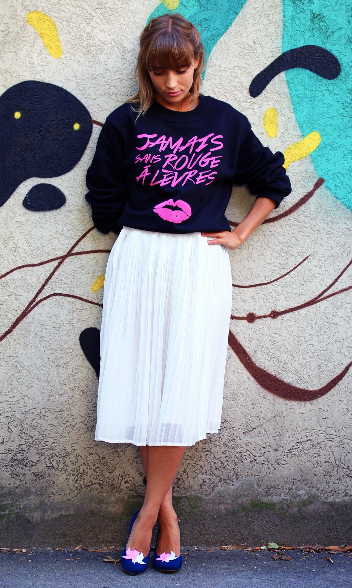 blog mode paris look jupe midi et sweat