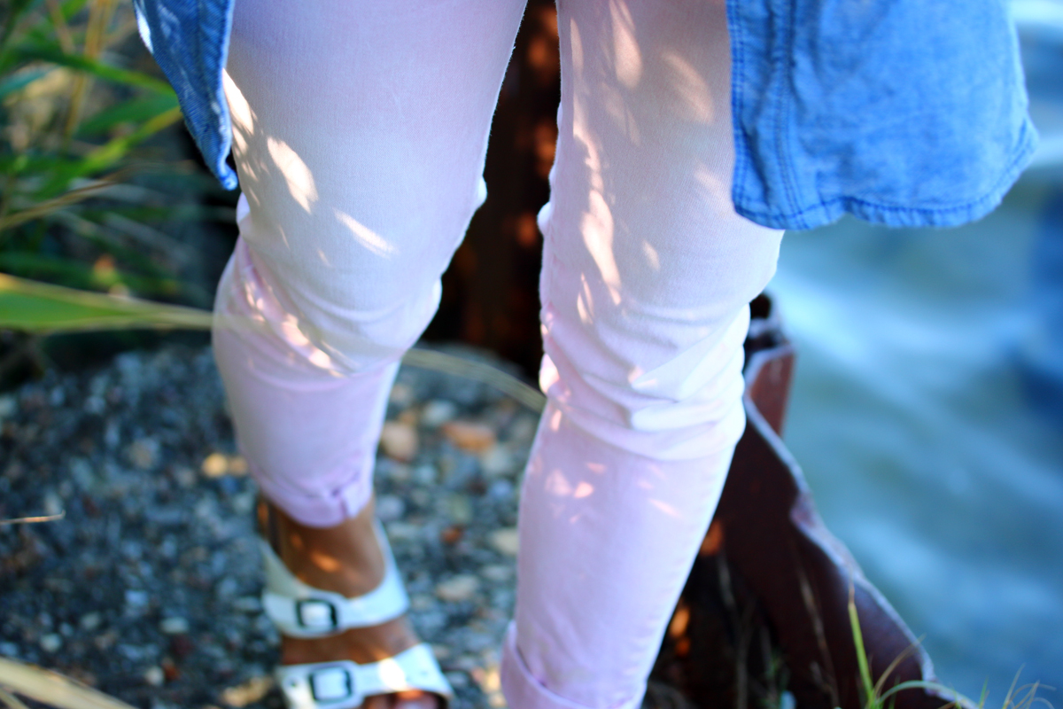 look pantalon rose pastel