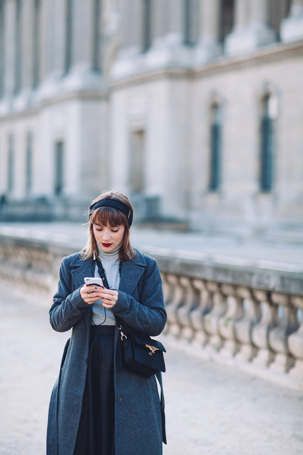 blog mode paris look manteau oversized gris
