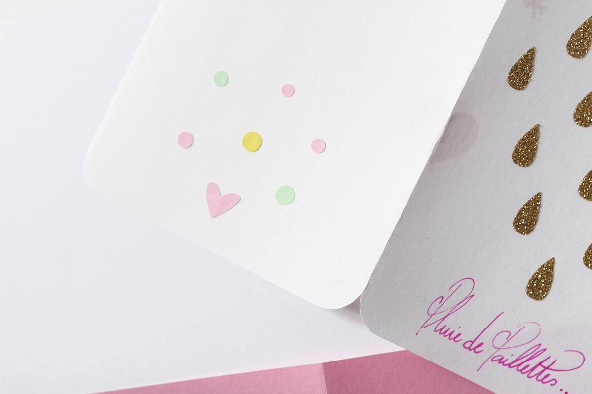 carte en papier pluie de paillettes