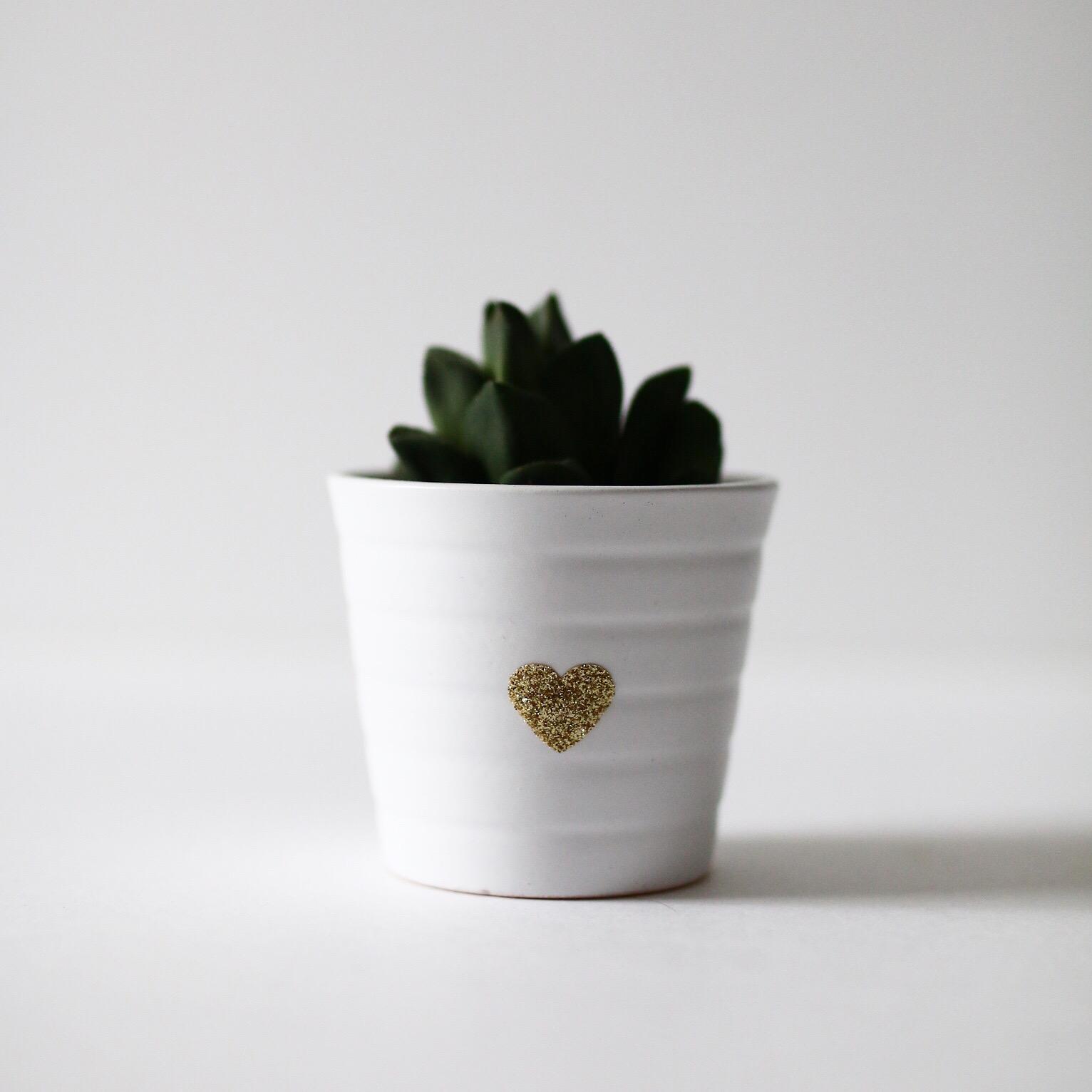 pot avec coeur pailleté
