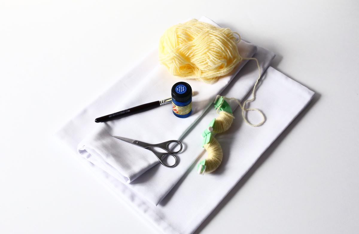 DIY coussins tachetés matériel