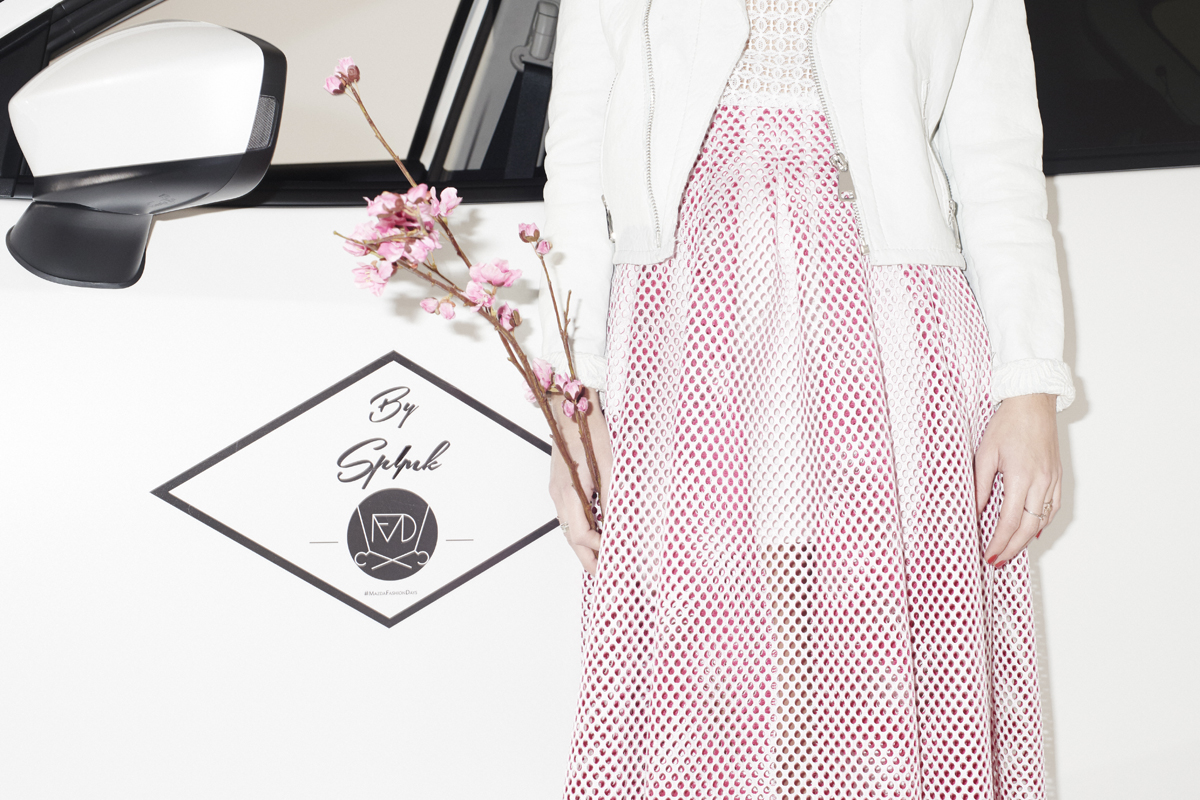 Jupe ajourée blanc et rose maje
