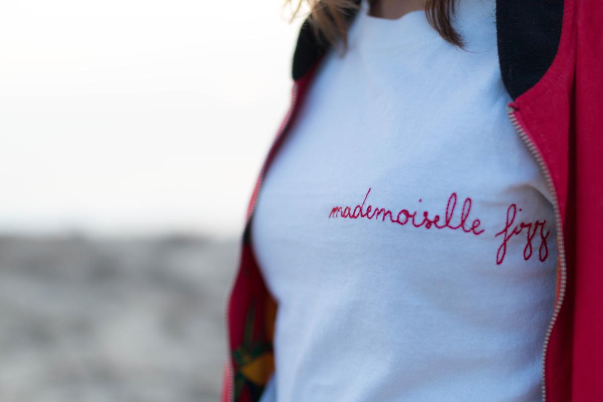 Look tee shirt brodé mademoiselle fizz