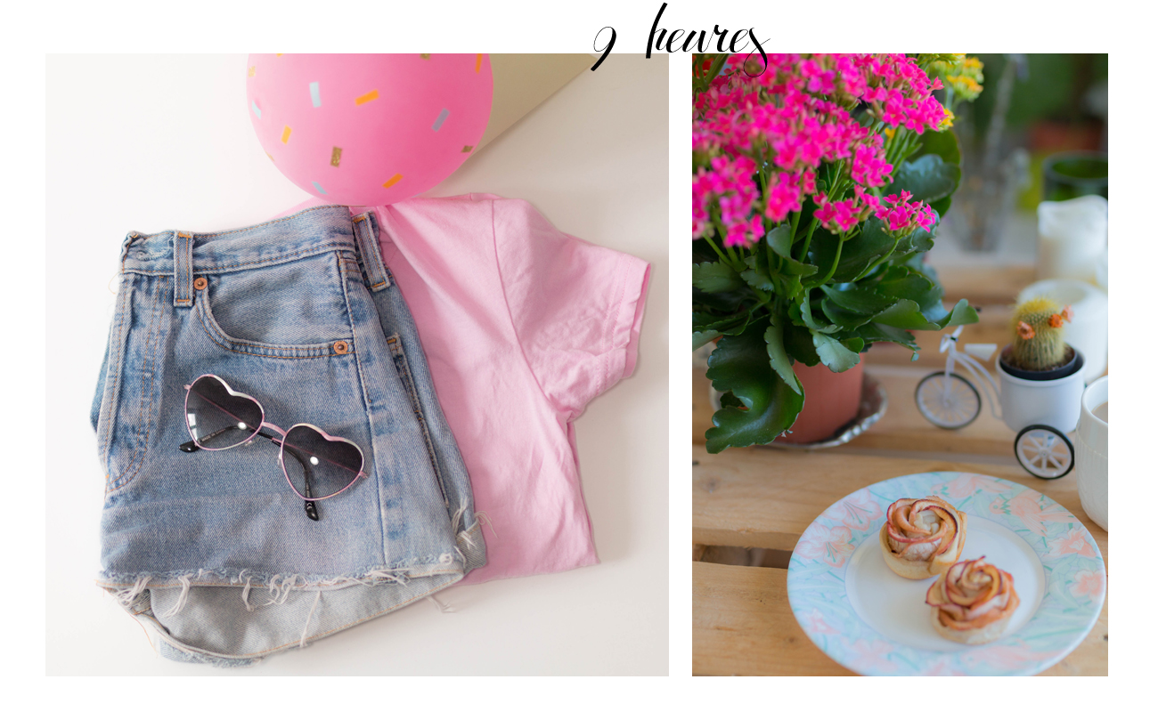 Short en denim et tshirt rose