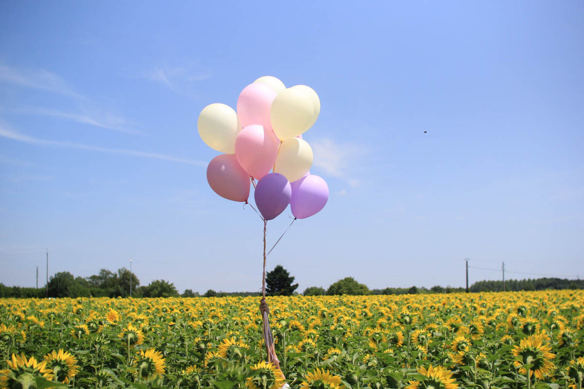 Balloons & sunflower with white and yellow playsuit | SP4NK BLOG-9