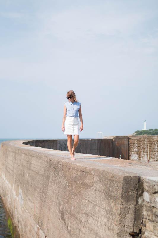 Chemise rayée et jupe trapéze blanche en denim summer time in biarritz | SP4NK BLOG-7