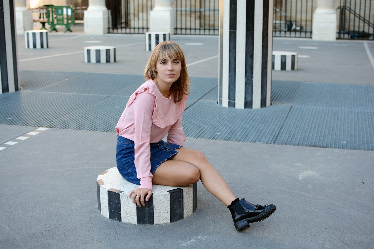 Blouse rose col plastron et bottines  I Sp4nk Blog
