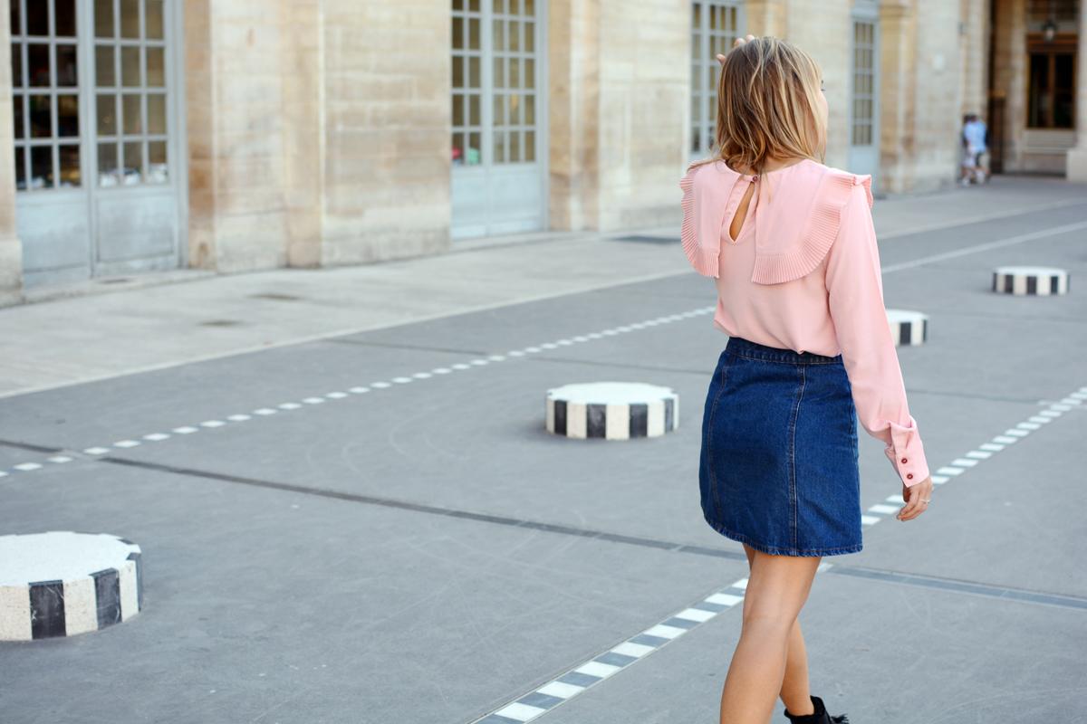 Jupe trapèze en denim et blouse rose I Sp4nk Blog