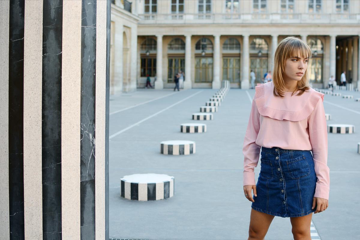 Look de rentrée Blouse rose et jupe en denim I Sp4nk Blog