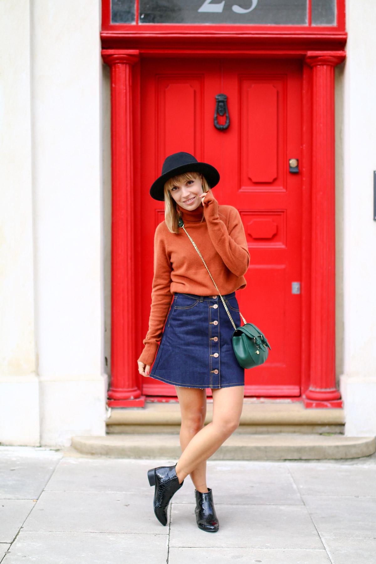 Col roulé en maille et jupe trapèze en jean brut I Sp4nkblog-17