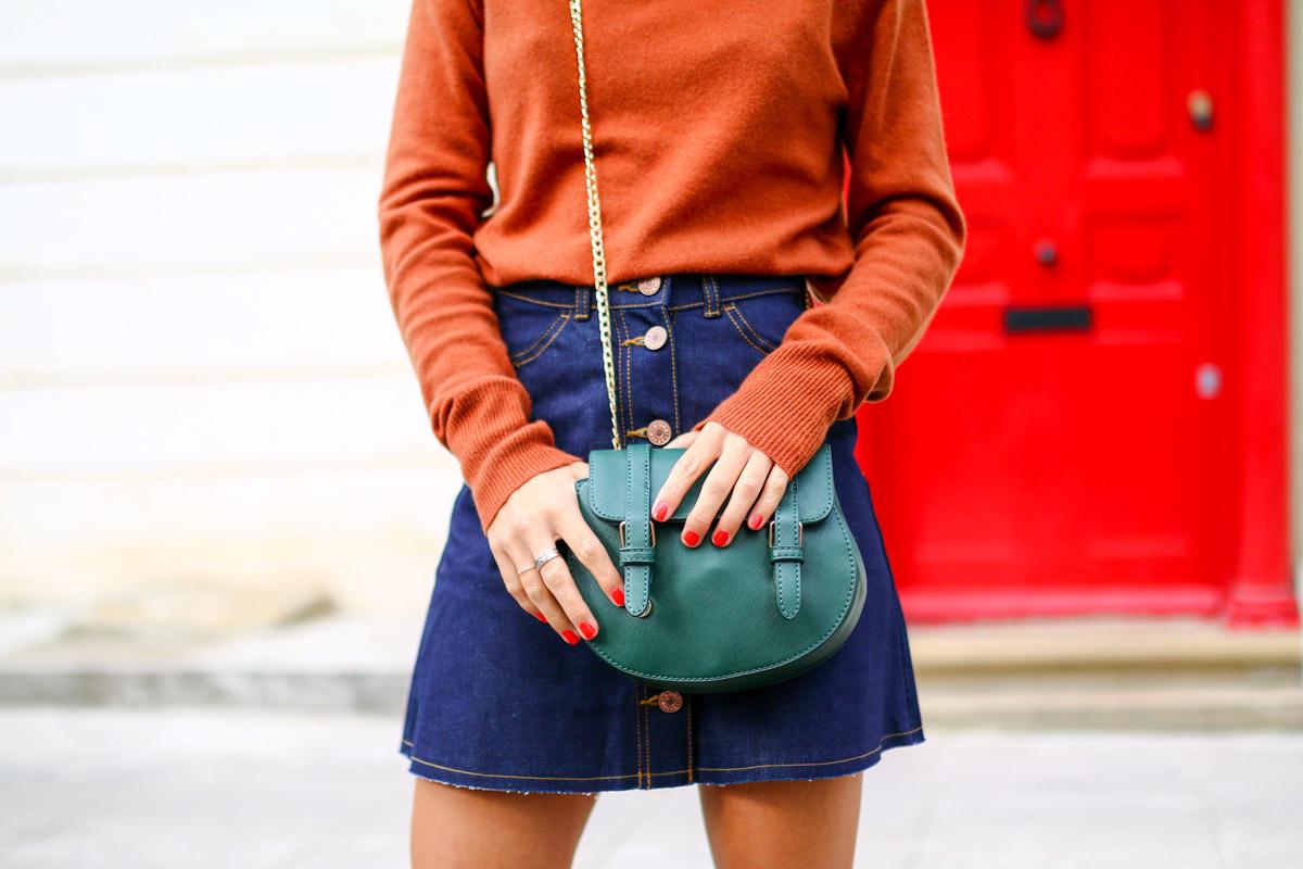 Col roulé en maille et jupe trapèze en jean brut I Sp4nkblog-20