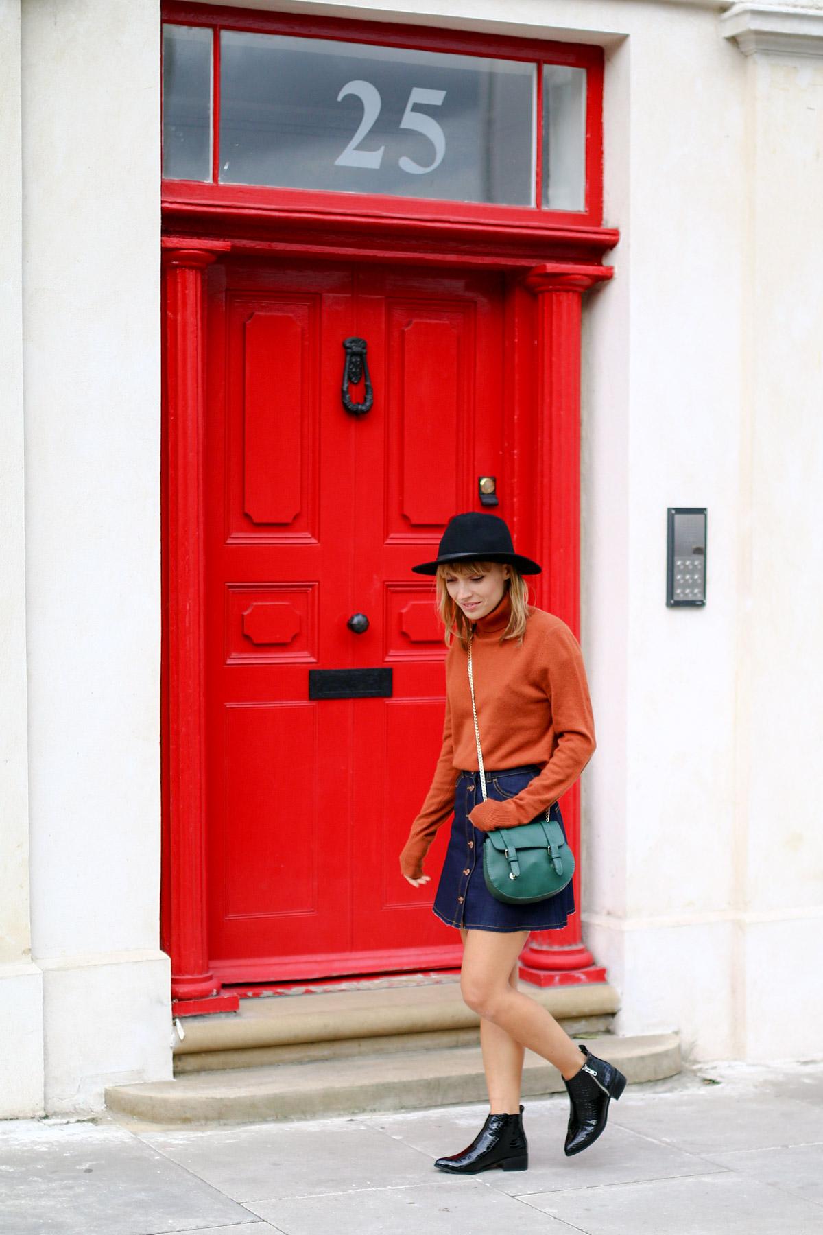 Col roulé en maille et jupe trapèze en jean brut I Sp4nkblog-5