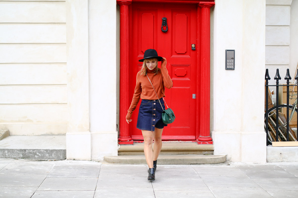 Col roulé en maille et jupe trapèze en jean brut I Sp4nkblog-7
