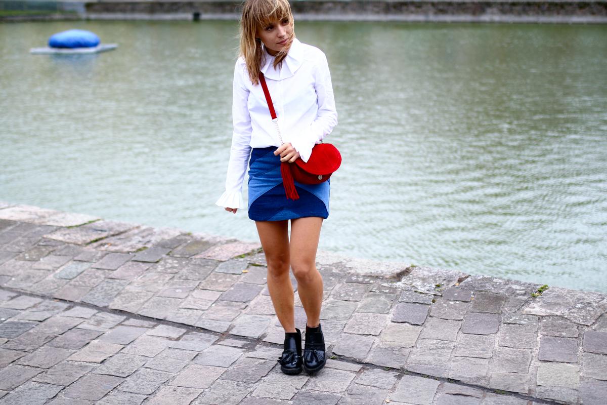 Look Seventies jupe en jean et chemise blanche I Sp4nkblog-13